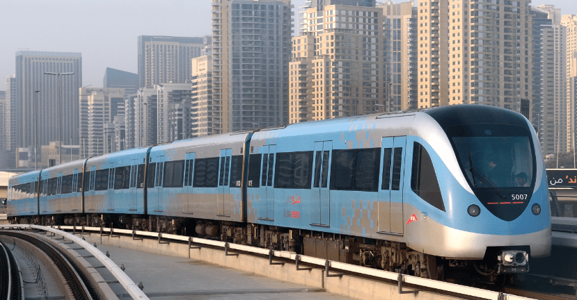 Some of the moving trains of Dubai Metro