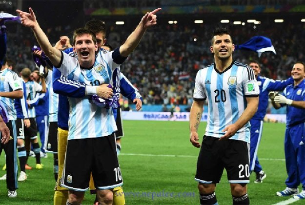 Argentine Striker Messi Rejoice after scoring goal on Penalty.