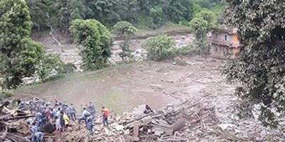Video of Sunkoshi River Blocked by Landslide