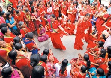 Hindu Women in Nepal celebrating Teej festival Today