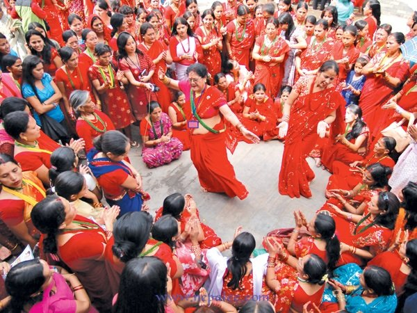 Hindu Women in Nepal celebrating Teej festival Today