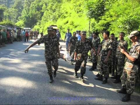 Nepal Army Rescue team at the bus accident site
