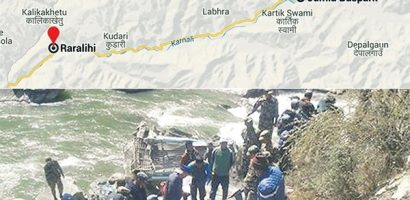 Nagma-bound bus fell 100 meters on the Tila river