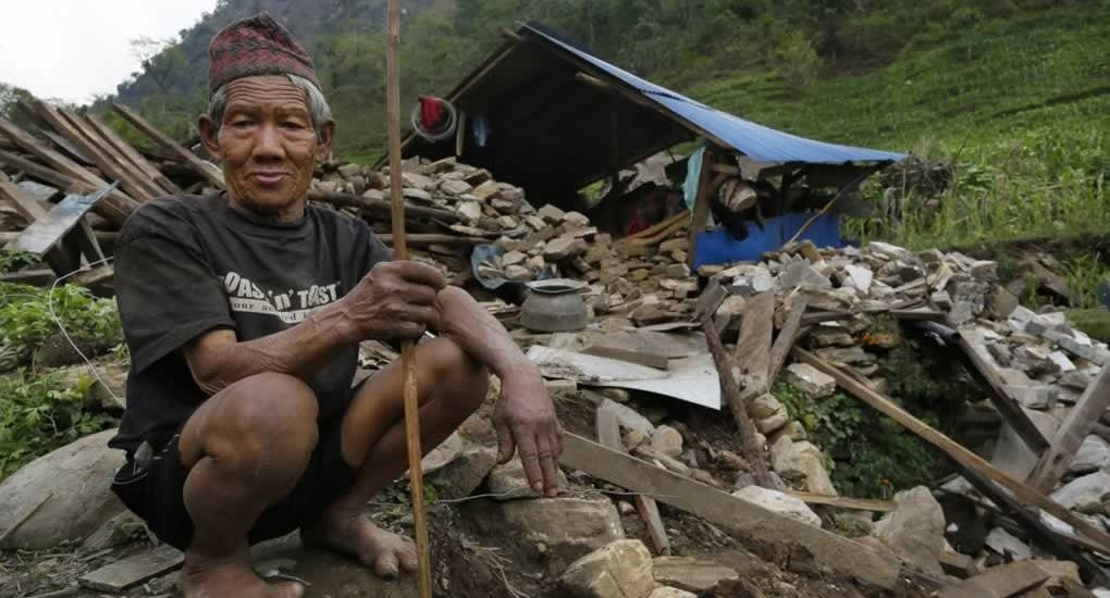 Nepal earthquake Victim in a remote village