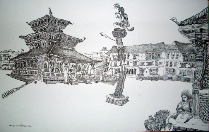 Pencil Sketch by Late King Birendra
