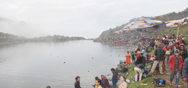 Pilgrims taking holy bath at Gosaikunda lake to mark the janaipurnima festival.