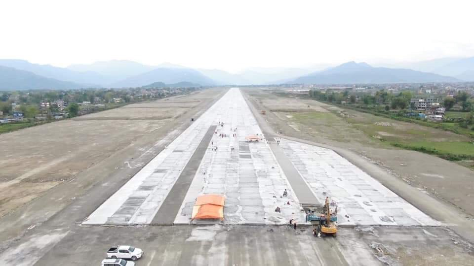 Completed runway of Pokhara international airport
